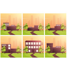 Set banners of hostel building guest house hotel vector