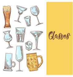 set different drink beverage glasses stemware vector image