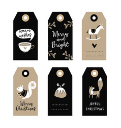 Set of cute christmas gift tags labels with vector
