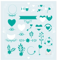 Set of wedding ornaments and decorative elements vector