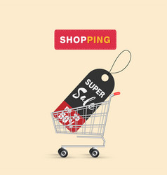 shopping super sale up to 50 in cart background v vector image