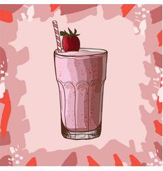 strawberry banana smoothie recipe menu element vector image