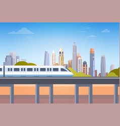 Subway over city skyscraper view cityscape vector