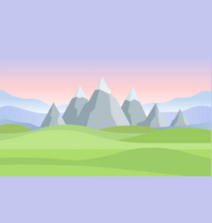 sunset or dawn in mountains landscape - modern vector image