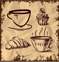 Tea and coffee icons set on vintage background vector image