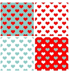 Tile pastel hearts background wallpaper set vector image