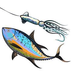 Tuna and bait fishing vector