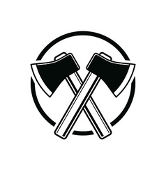 Two sharp axes crossed woodcutter tool simple vector