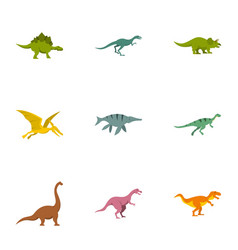 types of dinosaur icons set flat style vector image