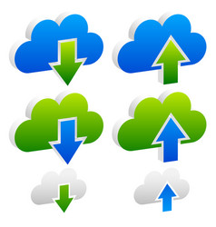 upload download buttons icons with cloud vector image