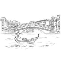 venetian gondola realto bridge black and white vector image