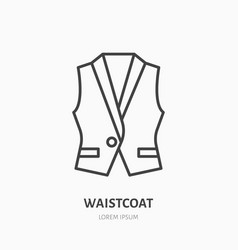 Vest waistcoat flat line icon garment store sign vector