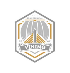Viking warrior isolated label with sailboat vector