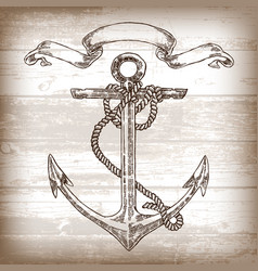 vintage anchor graphic on wooden background hand vector image