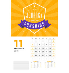 wall calendar template for november 2019 design vector image
