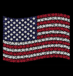 Waving american flag stylization of smile icons vector