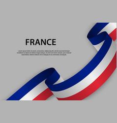 Waving ribbon flag france template for vector