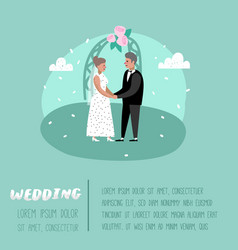wedding people cartoons bride and groom characters vector image