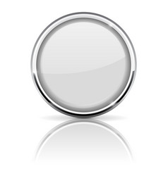 white glass button with chrome frame vector image