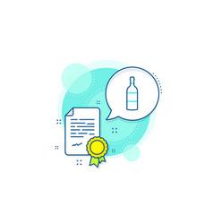 Wine bottle line icon merlot or cabernet vector