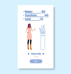 woman using plant info application smart house vector image