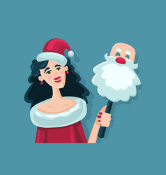 woman with santa claus mask girl with a bag of vector image