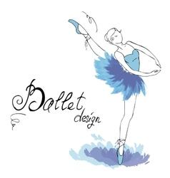 Ballet Dancer drawing in watercolor style vector image vector image