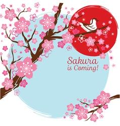 Cherry blossoms or sakura flowers with bird vector