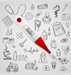 electronic thermometer and hand draw medicine icon vector image