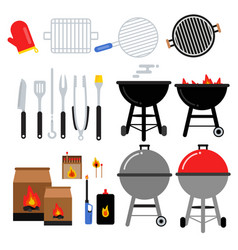 flat set for bbq party different vector image vector image
