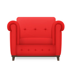 realistic red leather armchear isolated vector image