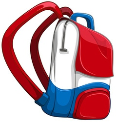 Schoolbag in red and blue vector image