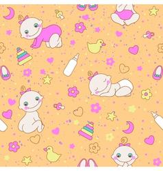 Seamless pattern with cute newborn girls vector image