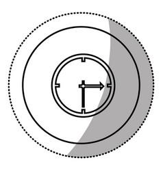 silhouette emblem sticker clock icon vector image