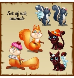 Three sick and healthy animals complaints vector image vector image