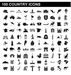 100 country icons set simple style vector image vector image