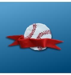 Baseball Ball with red ribbon vector image
