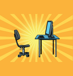 Computer workstation and chair vector