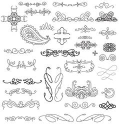 hand sketched vintage decorations vector image vector image