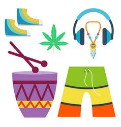 rastafarian cannabis peace ganja icons set in flat vector image