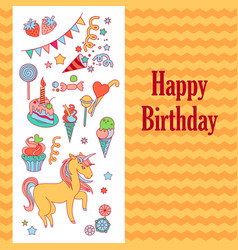 bright birthday card with unicorn flower ice vector image vector image
