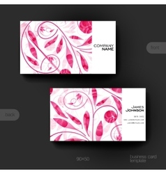 Business card template with floral ornament vector image