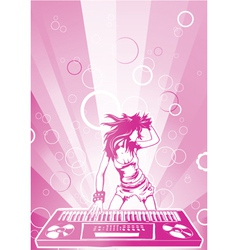 concert poster with dj girl vector image