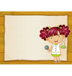 girl and paper sheet vector image vector image