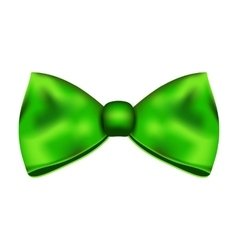 Green silky bow on a white background vector image
