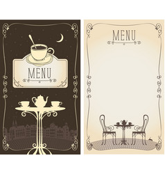 menu with served table cityscape moon and cat vector image vector image