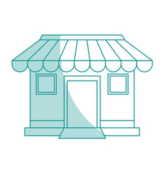 blue shading silhouette cartoon facade shop store vector image