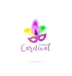 carnival card with mask and vector image