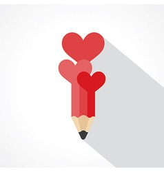 pencil with hearts vector image