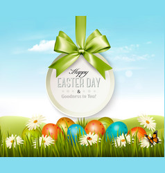Spring easter background easter eggs in grass vector